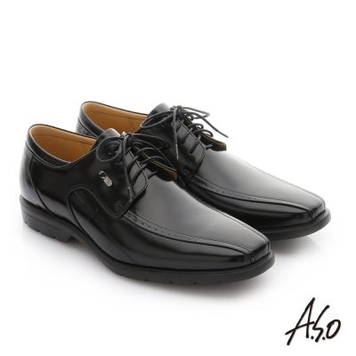 A.S.O 奈米健康氣墊  鏡面摔花牛皮綁帶紳士休閒皮鞋 黑色