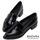 KAZANA-漆皮尖頭粗跟樂福鞋 黑