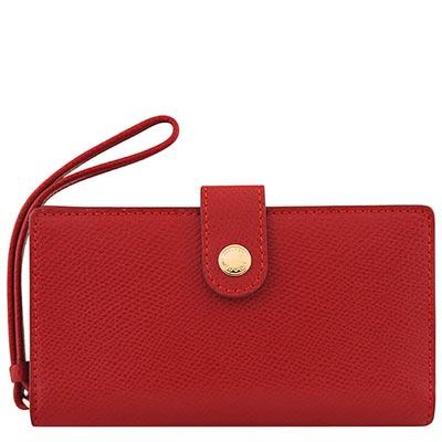COACH-紅色皮革壓紋壓釦五卡中夾