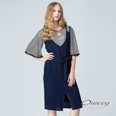 OUWEY歐薇 性感細肩綁帶雪紡洋裝(藍)
