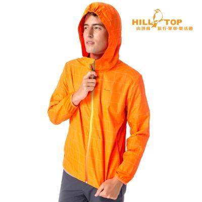 【hilltop山頂鳥】男款超輕量抗UV超潑水外套S02M88亮橘反光格紋