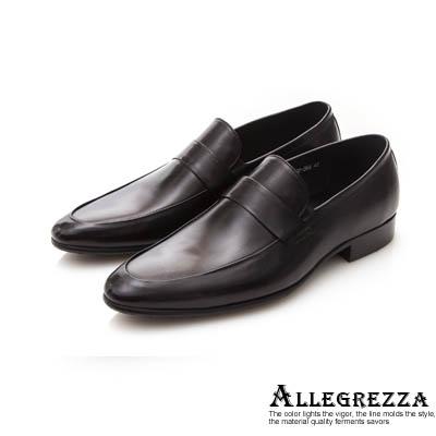 【ALLEGREZZA】真皮男鞋-心機單品-素面牛皮莫卡辛鞋  黑色