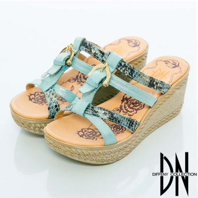 DN-摩登曲線-動物紋拼接百搭楔型鞋-藍