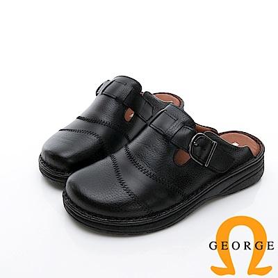 GEORGE 喬治-休憩系列 真皮寬楦涼鞋拖鞋-黑