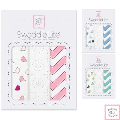 Swaddle Designs 薄棉羅紗多用途嬰兒包巾三入禮盒-小鳥波紋