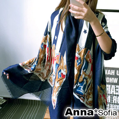 AnnaSofia-美星鞋靴圖騰-流蘇鬚披肩圍巾