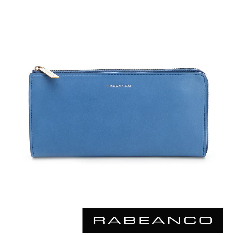 RABEANCO 迷時尚系列撞色多格層拉鍊長夾-  天藍