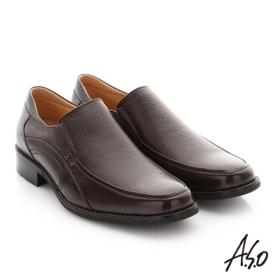 A.S.O 勁步雙核心 全真皮鬆緊帶奈米紳士鞋 咖啡色