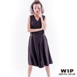 WIP X 2% 直條紋連身褲_黑