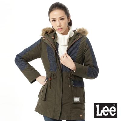 Lee 鋪棉外套 連帽牛仔拼接長版 -女款 藍和墨綠
