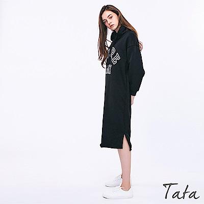 連帽繫帶字母洋裝 共三色 TATA