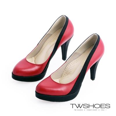 TWshoes真皮素面名媛高跟鞋-紅