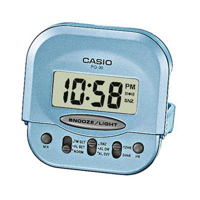 CASIO 輕巧型超小旅行用可摺疊鬧鐘(PQ-30-2)-藍