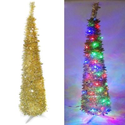 180cm彈簧摺疊金色哈利葉瘦型聖誕樹(LED100燈-彩光)