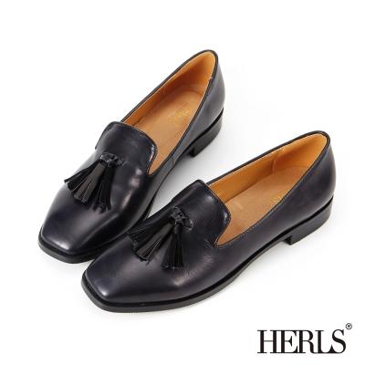 HERLS 內真皮 復古雙色流蘇方頭樂福鞋-深藍色