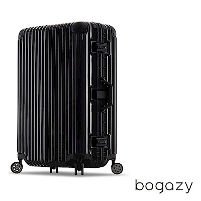 Bogazy 迷幻森林 26吋鋁框PC鏡面行李箱(尊榮黑)