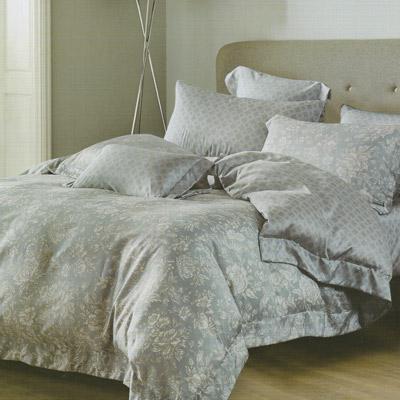 Saint Rose 暗香疏影 藍 加大 100 %純天絲全鋪棉床包兩用被套四件組
