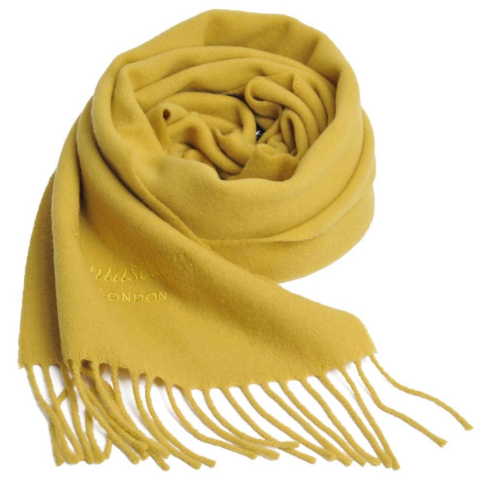 Aquascutum 高質感100%羊毛經典品牌字母LOGO刺繡圍巾(芥末黃)