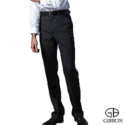 GIBBON 保暖細刷毛直紋平口西裝褲‧黑色30~42