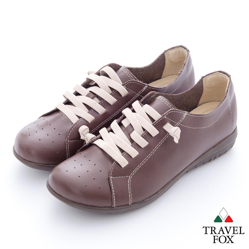 Travel Fox女饅頭加了料全牛皮沖孔圓頭休閒鞋-巧克力