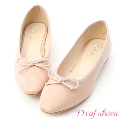 D+AF 氣質典雅.漆皮低跟芭蕾娃娃鞋*粉