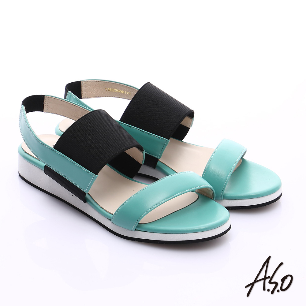 A.S.O 玩美涼夏 真皮鬆緊帶楔型涼鞋 綠色