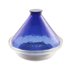 【ADERIA】日本進口透明玻璃塔吉鍋(藍)