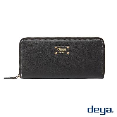 deya 波爾卡 簡約時尚真皮拉鍊長夾  黑色