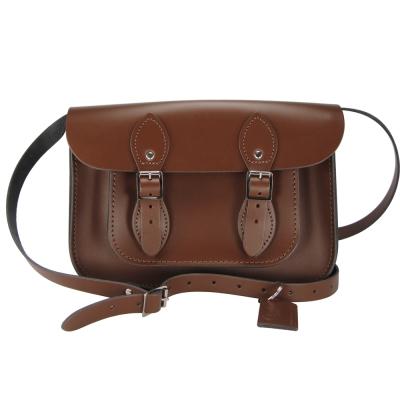 The Leather Satchel 英國手工牛皮劍橋包 肩背 側背包 栗木棕 11吋