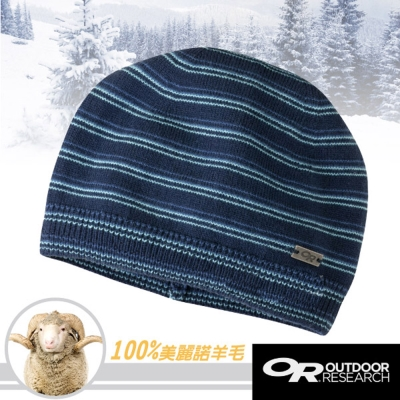 【Outdoor Research】Minigauge 100%美麗諾羊毛保暖帽/藍條紋