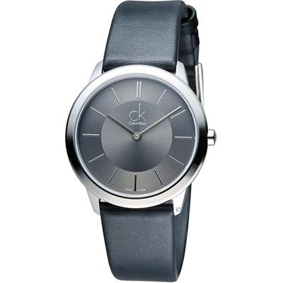 CK Calvin Klein Minimal 俐落時尚腕錶-灰/ 35 mm