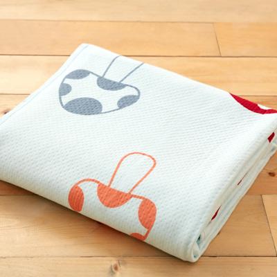美夢元素 純棉針織天然纖維透氣涼毯-100*150cm(蘑菇色彩)
