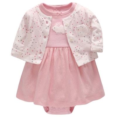 Carters 美國 粉色小兔短袖包屁洋裝點點愛心外套套裝兩件組