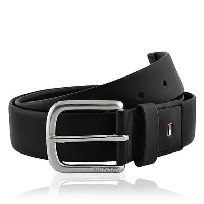 TOMMY 黑色皮革壓紋紳士皮帶-M/L/XL號