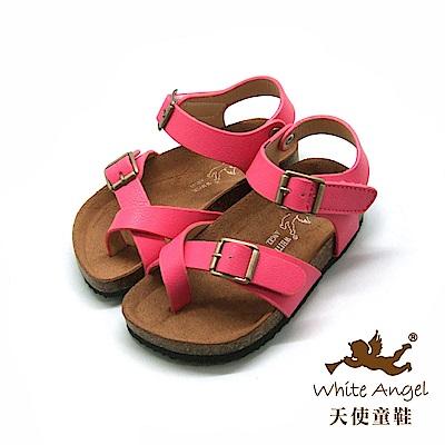 天使童鞋- 陽光羅馬氣墊夾腳親子拖鞋(中-大童)J856-桃