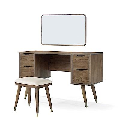 品家居 貝杰4尺木紋化妝鏡台組合含椅-120x45x138cm免組