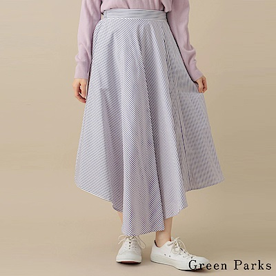 Green Parks 不規則下擺設計格紋長裙
