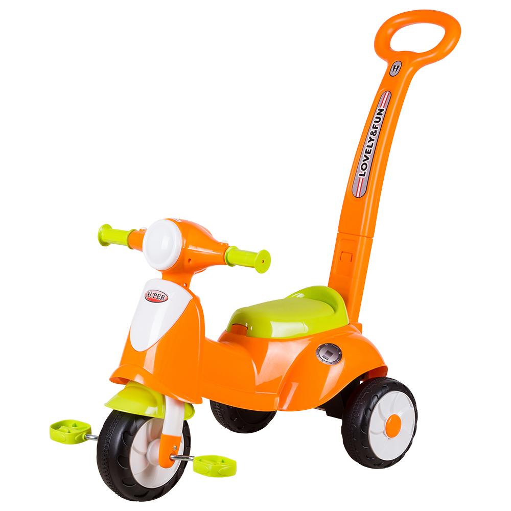寶貝樂 果粉三輪車助步車-橘色