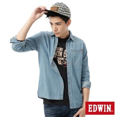 EDWIN 襯衫 暗口袋牛仔襯衫-男-漂淺藍