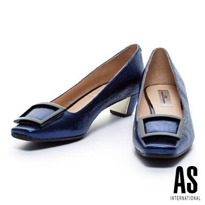 高跟鞋-AS-黑色方釦羊皮復古方頭電鍍粗跟高跟鞋-藍
