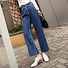 ALLK  寬直筒喇叭牛仔褲 深藍色(腰圍27-31)