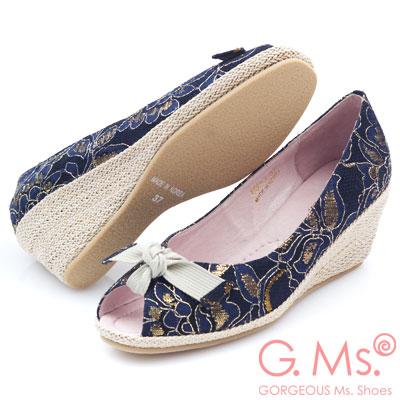G.Ms. 魚口織帶蝴蝶結蕾絲金線花蔓楔型鞋-氣質藍