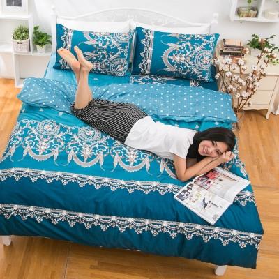 eyah宜雅 全程台灣製100%頂級精梳棉雙人被套 法國洛可可的浪漫-藍