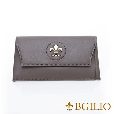 義大利BGilio-高質感Nappa牛皮西式信封長夾(活動式卡夾)-灰色-1478.328