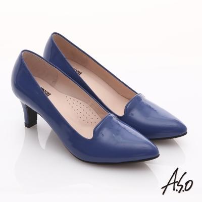 A.S.O 輕透美型 全真皮素面尖楦高跟鞋 藍