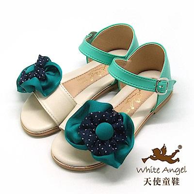 天使童鞋 清麗圓點花涼鞋(中-大童)J848-米
