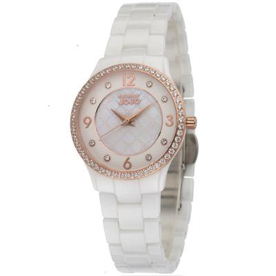NATURALLY JOJO 風靡焦點時尚陶瓷腕錶-白/31.5mm