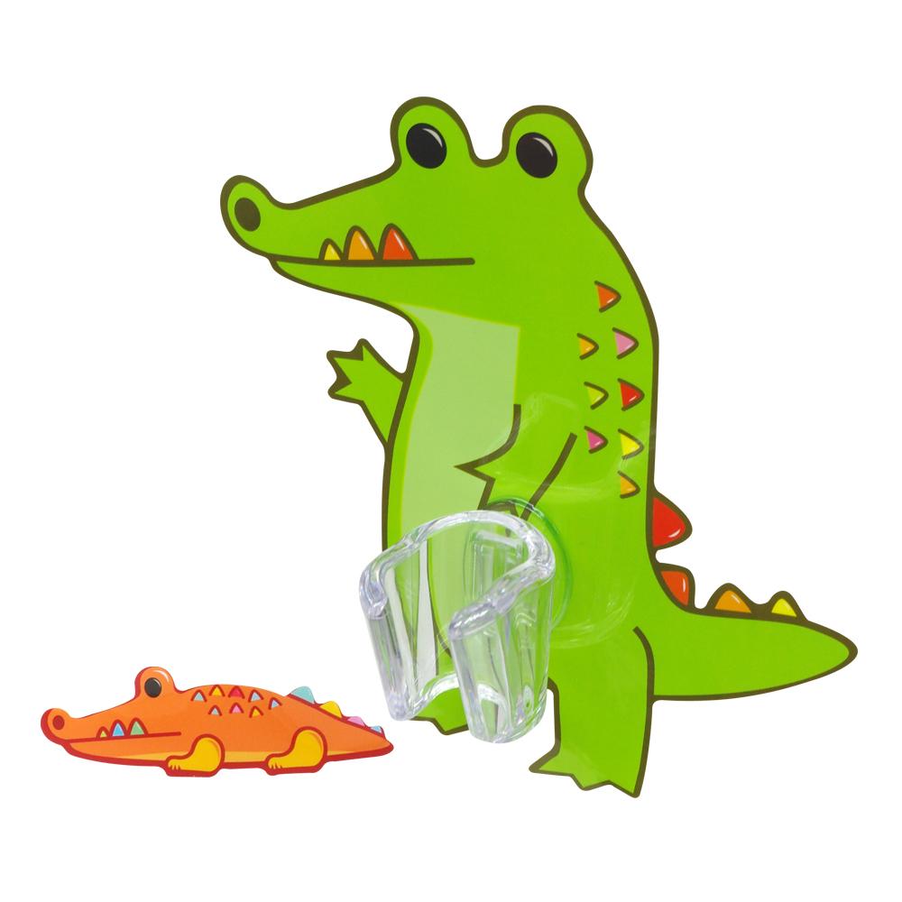 黏樂趣 NELO 卡通造形蓮蓬頭座架重複貼掛勾組(鱷魚)
