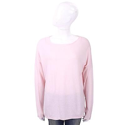 ALLUDE 喀什米爾粉色捲邊細節薄針織羊毛衫