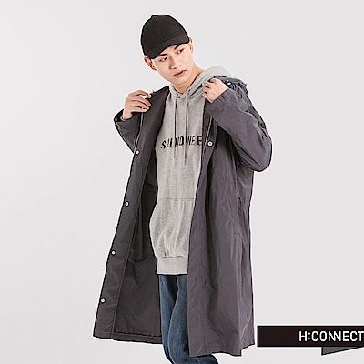 H:CONNECT 韓國品牌 男裝 - 背印字風衣長外套-灰藍